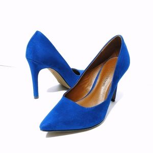 Christian Siriano Blue Velvet/Suede Heels
